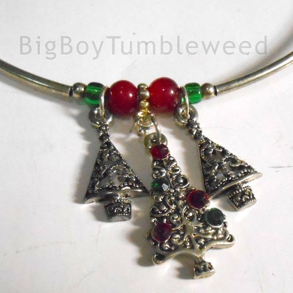 Christmas tree Holiday earring & neclace set Jewelry rhinestone ...