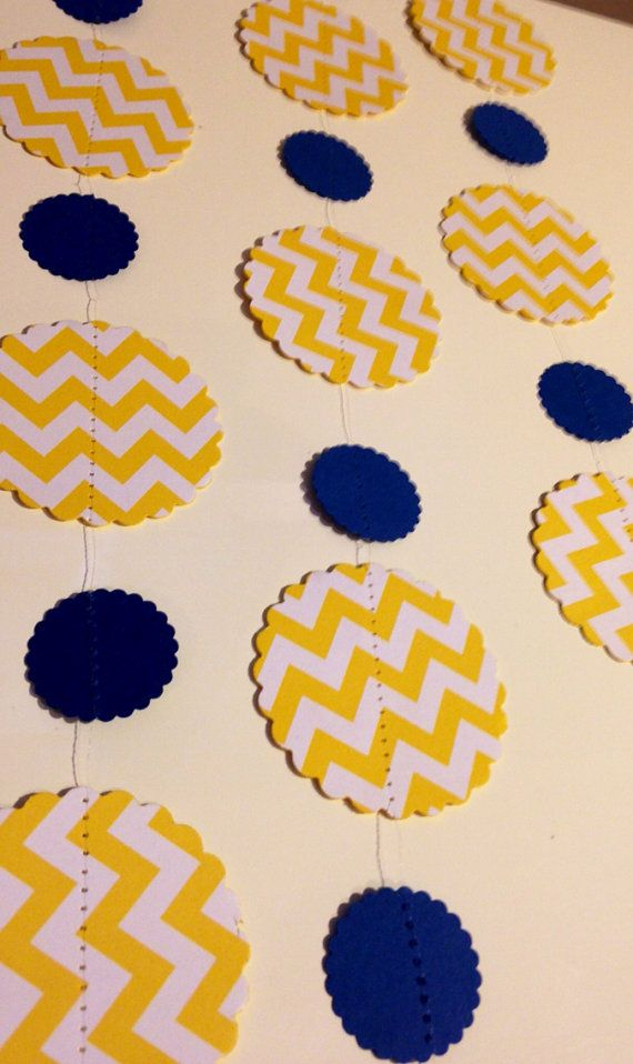 Yellow and White Chevron Paper Garland Birthday Party Decor, Baby Shower Decor, Nursery Decoration with Navy Blue Accents on Etsy, $5.00