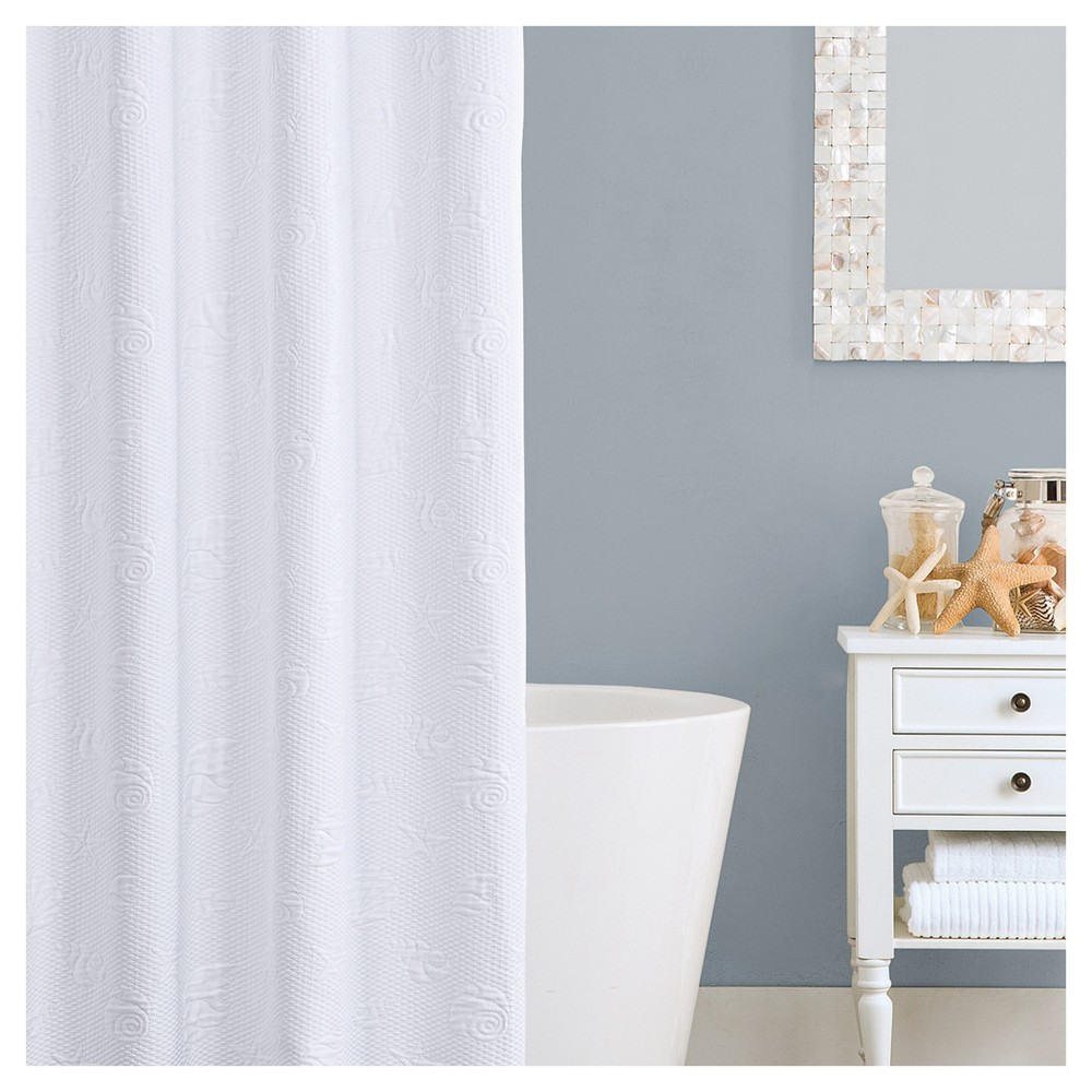 Seaspray shower curtain white extra long lamont home products
