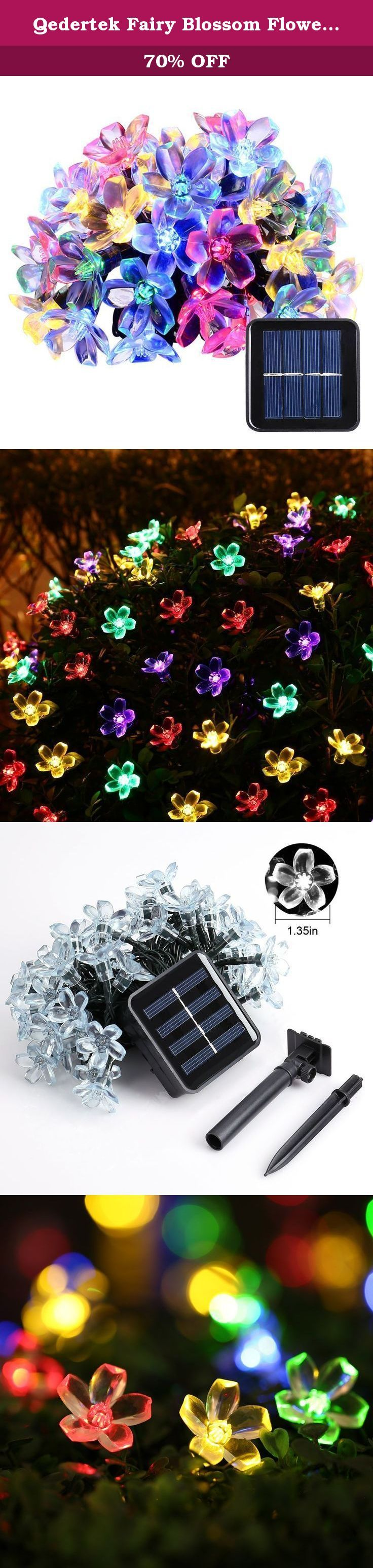 Qedertek Fairy Blossom Flower Solar String Lights 21ft 50 LED