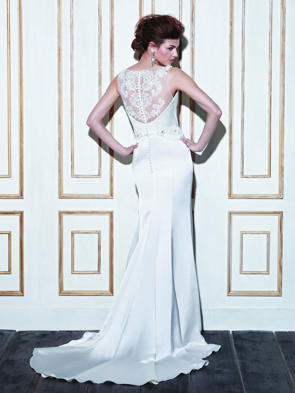 Cowl back lace wedding dress  GLADWIN  Blue Collection  Enzoani  Available Colours  Ivory