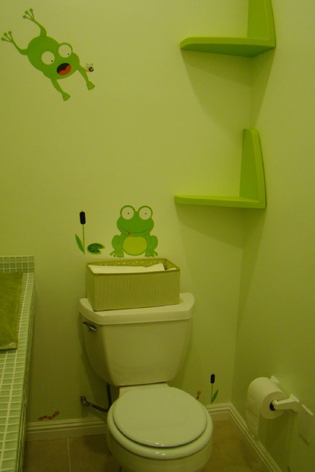 Pretty Green Frog Wall Decal With Custom Floating Shelves In Small ...