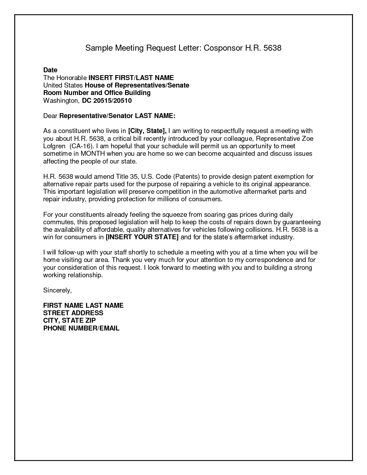 Letter Sample Business Format Request Meeting Letters Letterhead