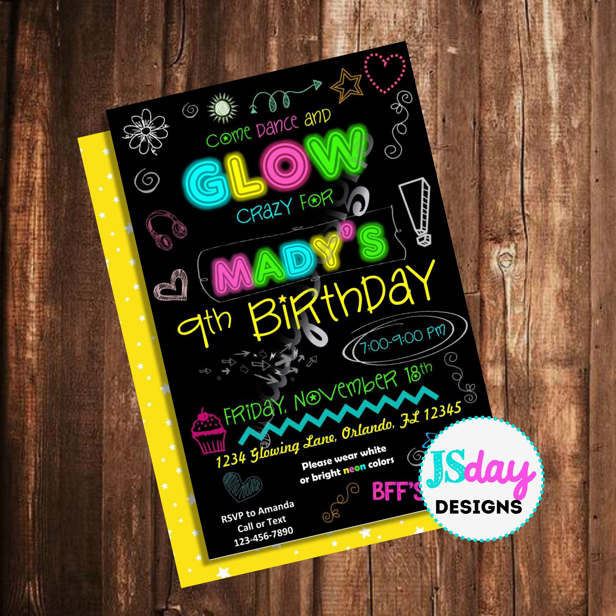 Glow Party Invite In The Dark Birthday Dance Invitation Tween Teen Black Light Neon Stick Doodle Girl By JSdayDesigns