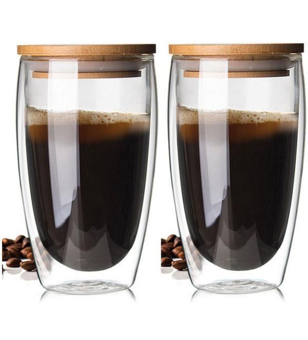 Bodum Creative Double Wall Glass Cup Coffee Mug With Bamboo Lid