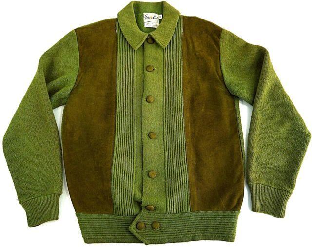 VINTAGE ATOMIC LOOP COLLAR mens M cardigan sweater