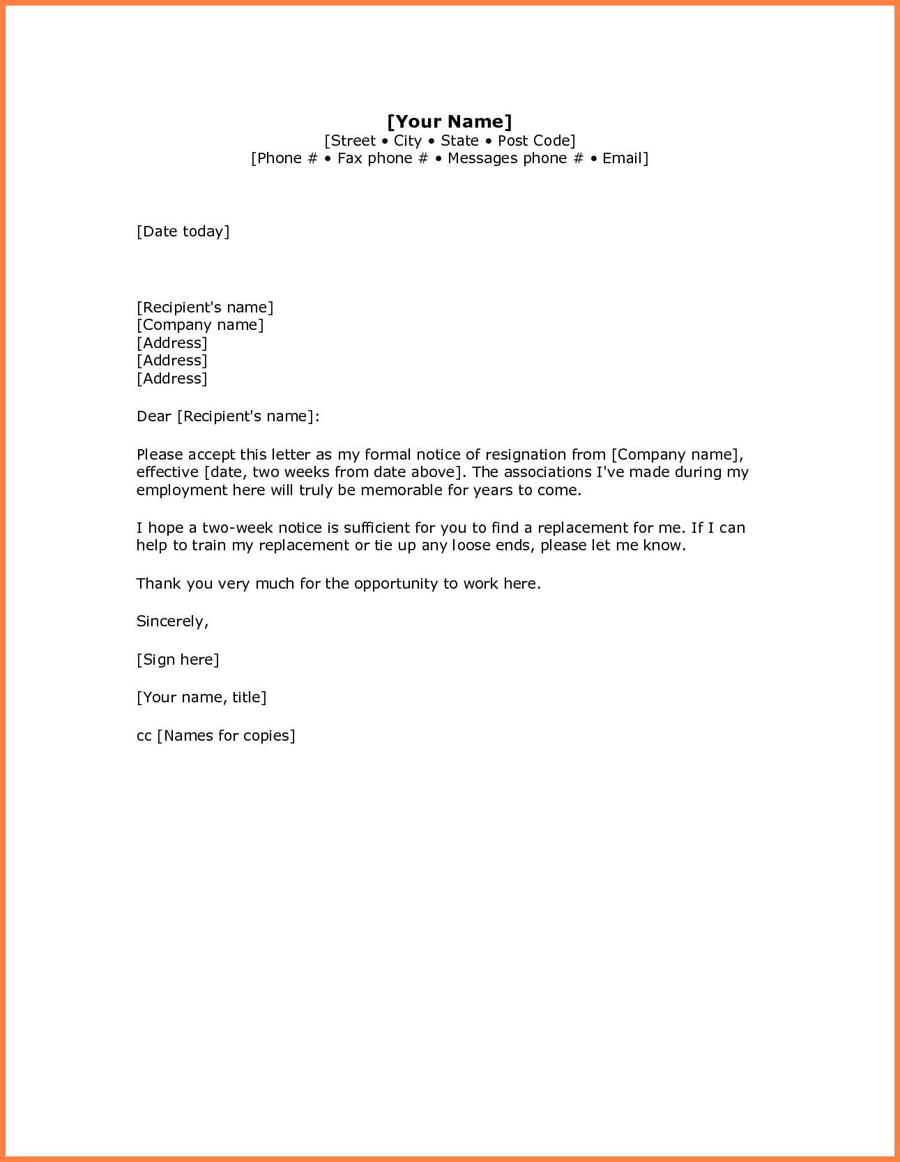 Simple Resignation Letter Sample  Week Notice  Notice Letter
