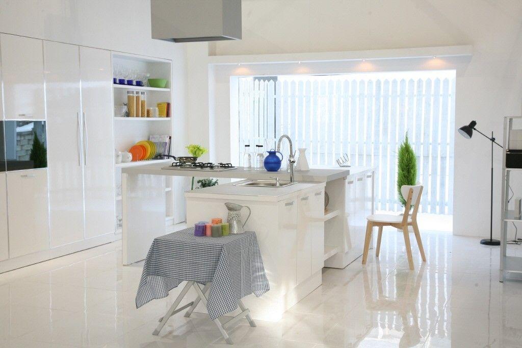 Modern Korean Interior Design Style White Kitchen With Island Chair Floor Lamp