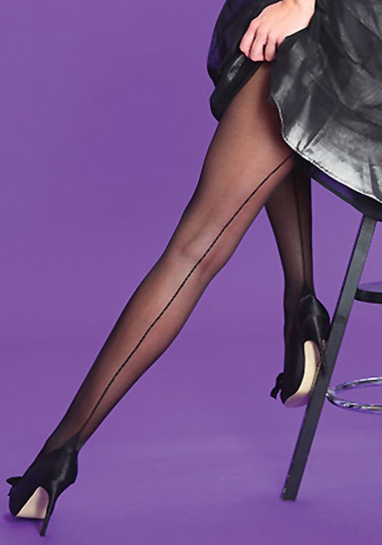 Ladies Silky Scarlet Seamer Seamed Lycra Lace Top Hold Ups