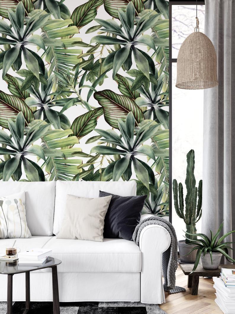 Tree Design Wallpaper Living Room: Botanical Leaves Modern Design Floral Wallpaper Restaurant