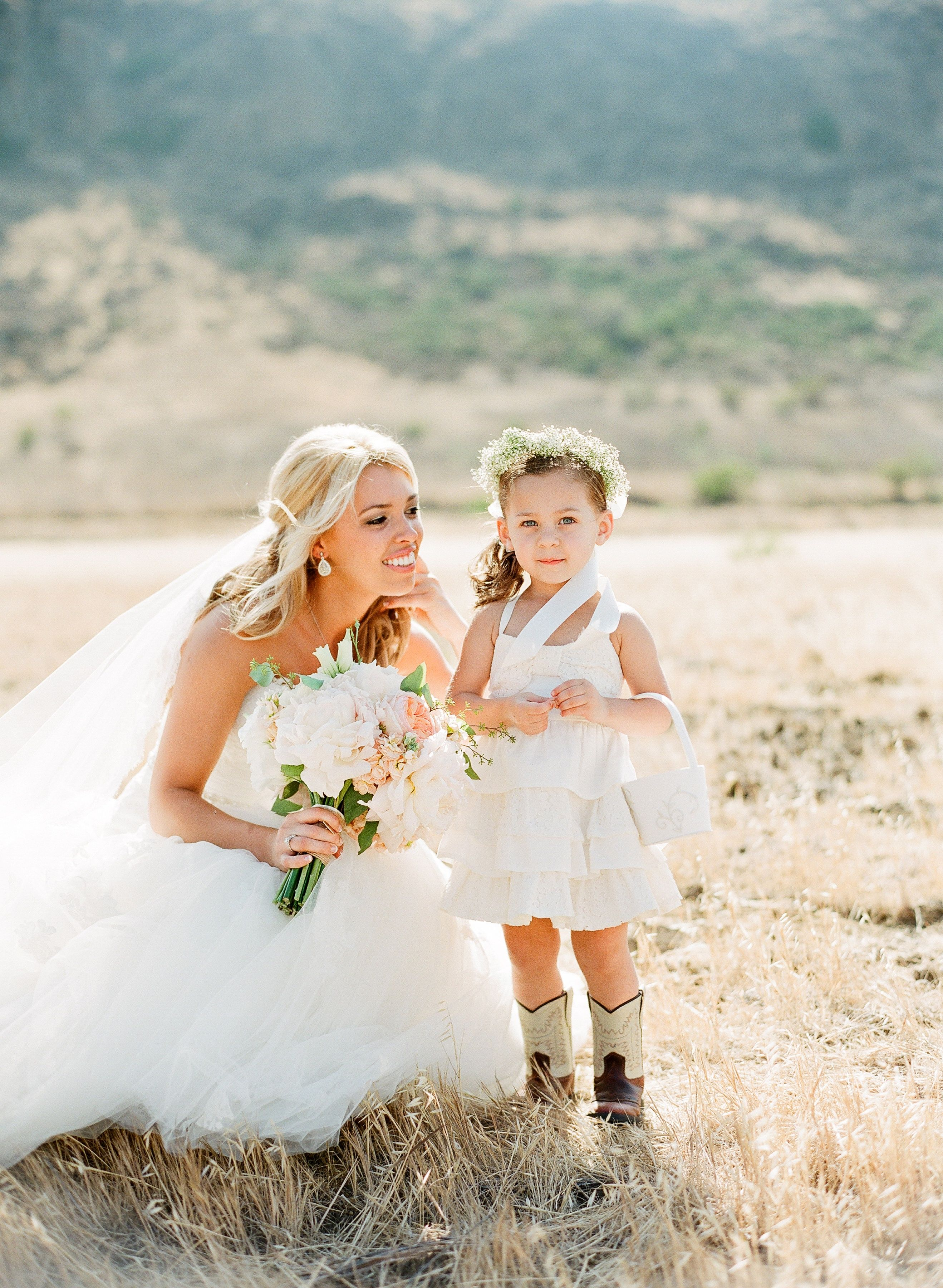 Casual Country Flower Girl Look Lavender and Twine
