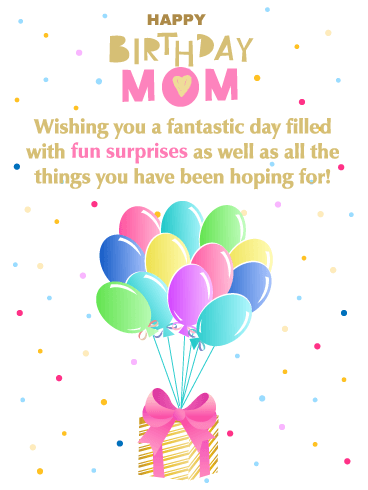fun surprises happy birthday card for mother dazzle your mother on her birthday with this beautiful greeting card it showcases a golden gift box tied