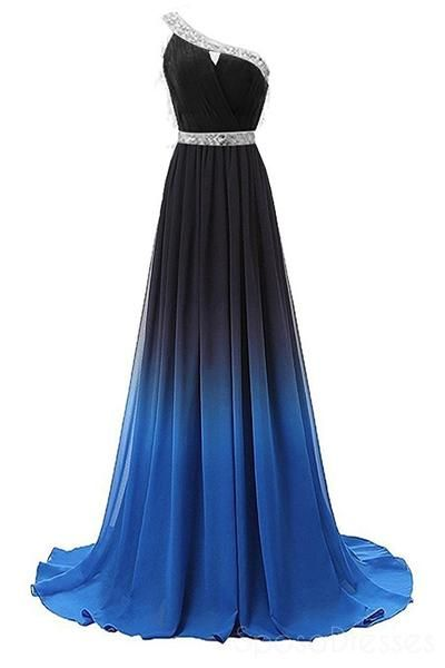 One Shoulder Ombre Beaded Long Evening Prom Dresses, Cheap Sweet 16 Dresses, 18355 #eveningdresses