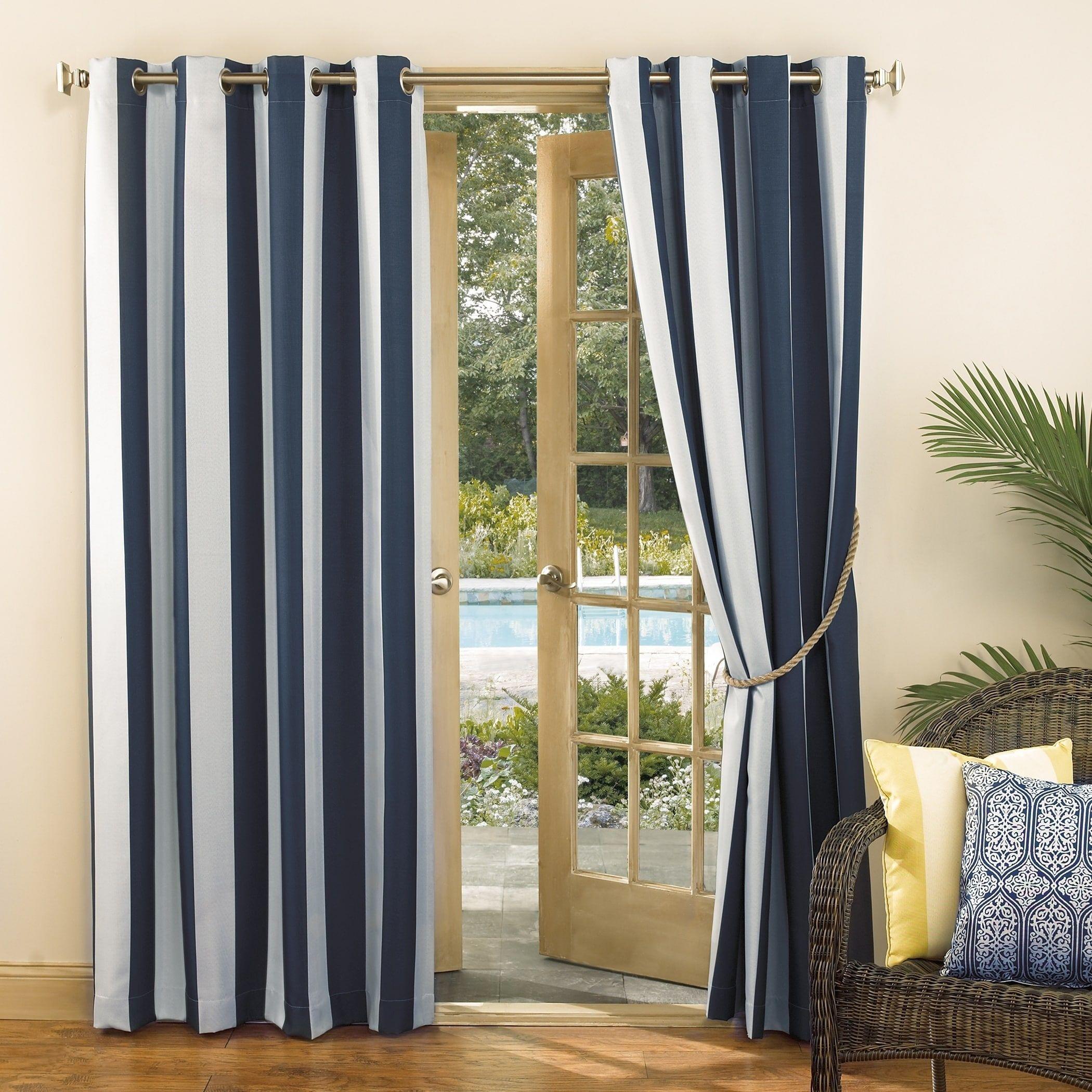Sun Zero Valencia Cabana Stripe Indoor Outdoor Curtain Panel In 2020 Outdoor Curtain Panels Outdoor Curtains