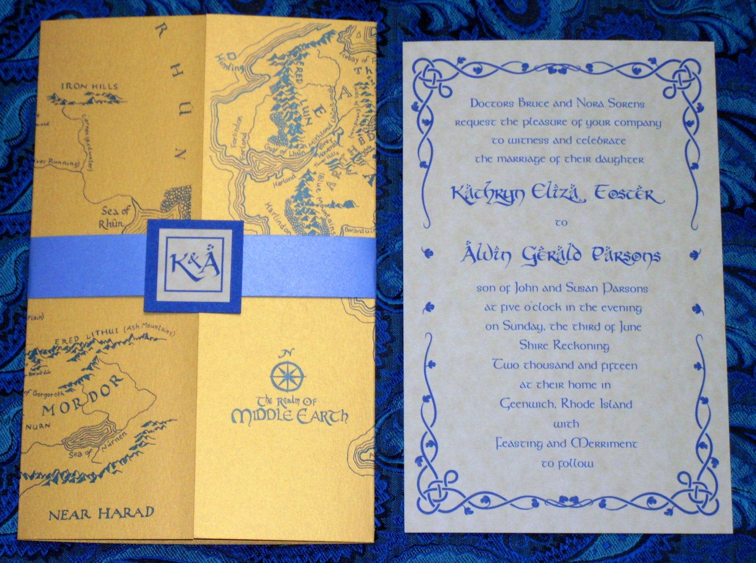 Gold And Navy Middle Earth Map Lotr Elvish Hobbit Gatefold