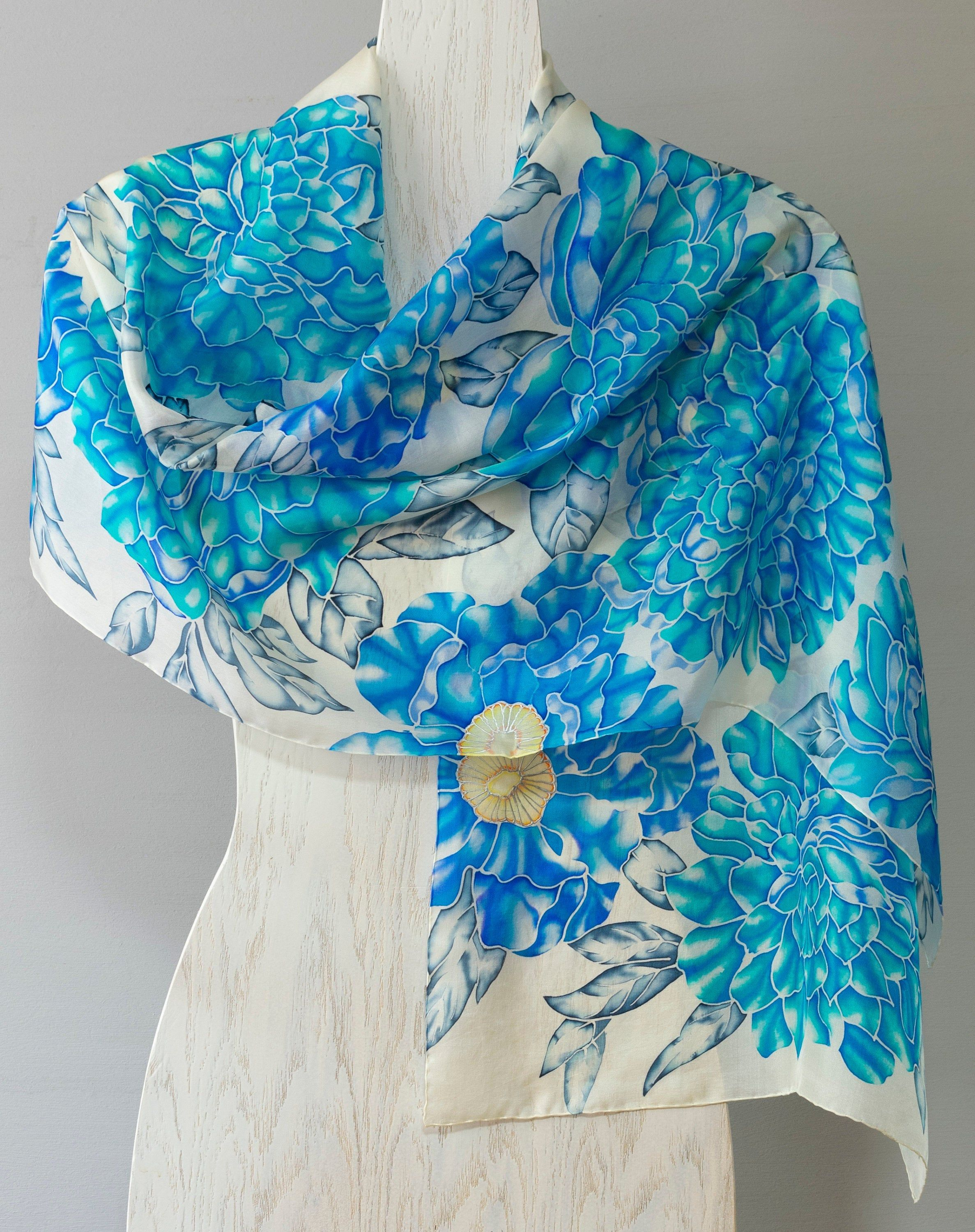 Blue Peonies Hand painted silk scarf #bluepeonies