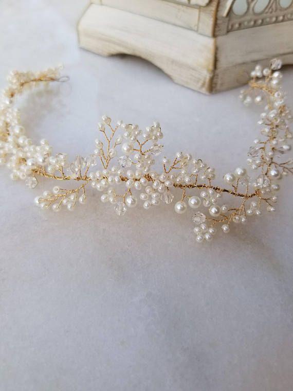 Handmade Ivory Pearl and Clear AB Crystal Tiara Hairband **NEW**