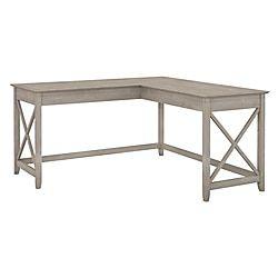 Bush Furniture Key West 60 W L Shaped Desk Washed Gray Standard Delivery L Shaped Desk Furniture Desk