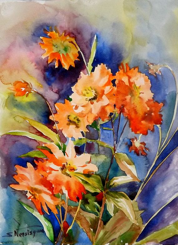 Unique Orange Flowers Oriignal watercolor painting 15 X 11 in garden floral watercolor art on Etsy $53 00 Beautiful - New orange flower painting Contemporary