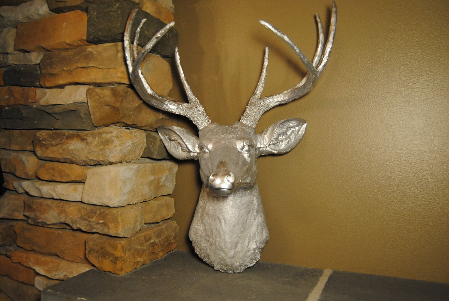 Metallic Silver Deer Head  Faux Deer Head Antlers by NearAndDeer, $79.99