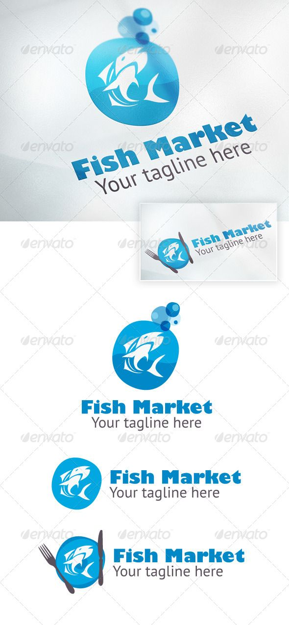 fish market logo design template vector logotype download it here http