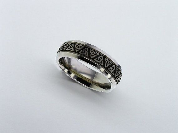 Celtic Trinity Knot Titanium Wedding Ring Celtic Titanium Wedding