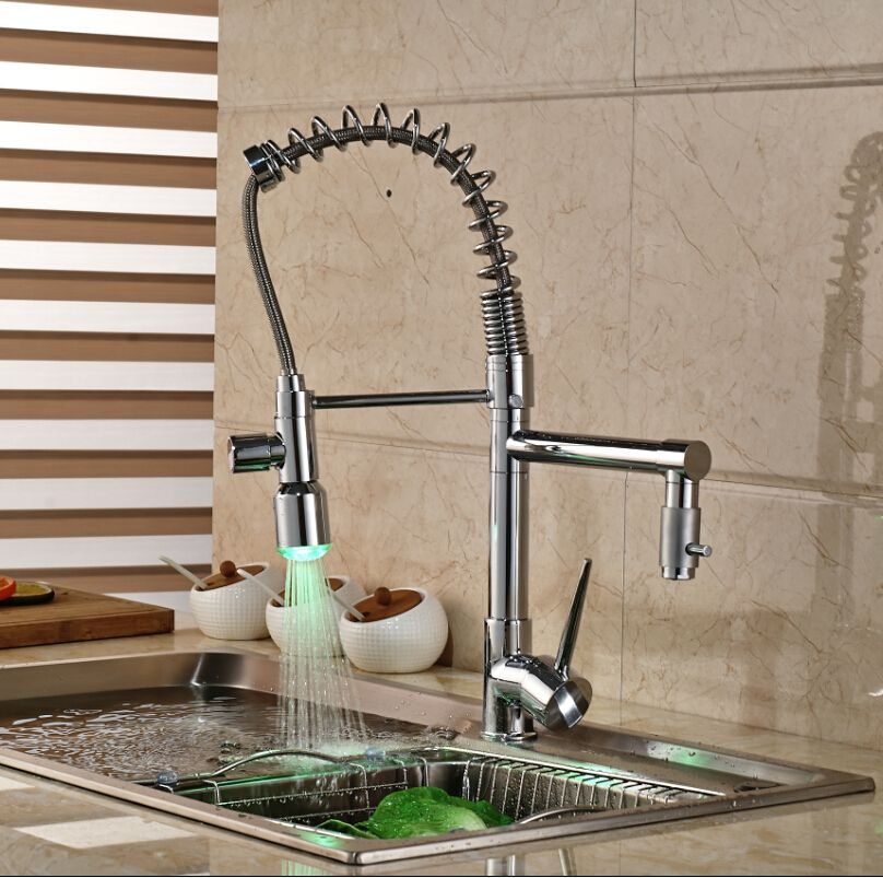 $59.34 | LED Color Changing Kitchen Sprayer Faucet Mixer Tap Spring Polished Chrome with Hot Cold Water Hose