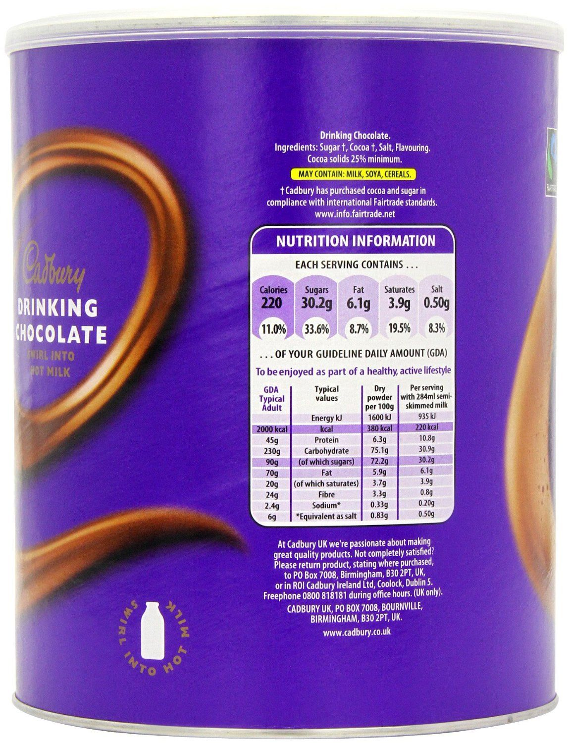 Cadbury Composite Fairtrade Drinking Hot Chocolate 2kg In