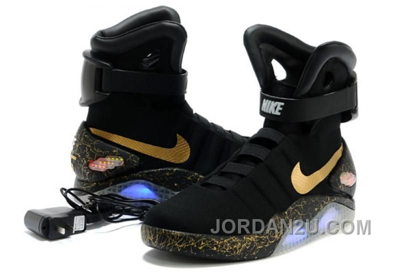 Nike Air Mag Back To The Future Limited Edition Shoes Black Gold ... d47d6dc7ce11