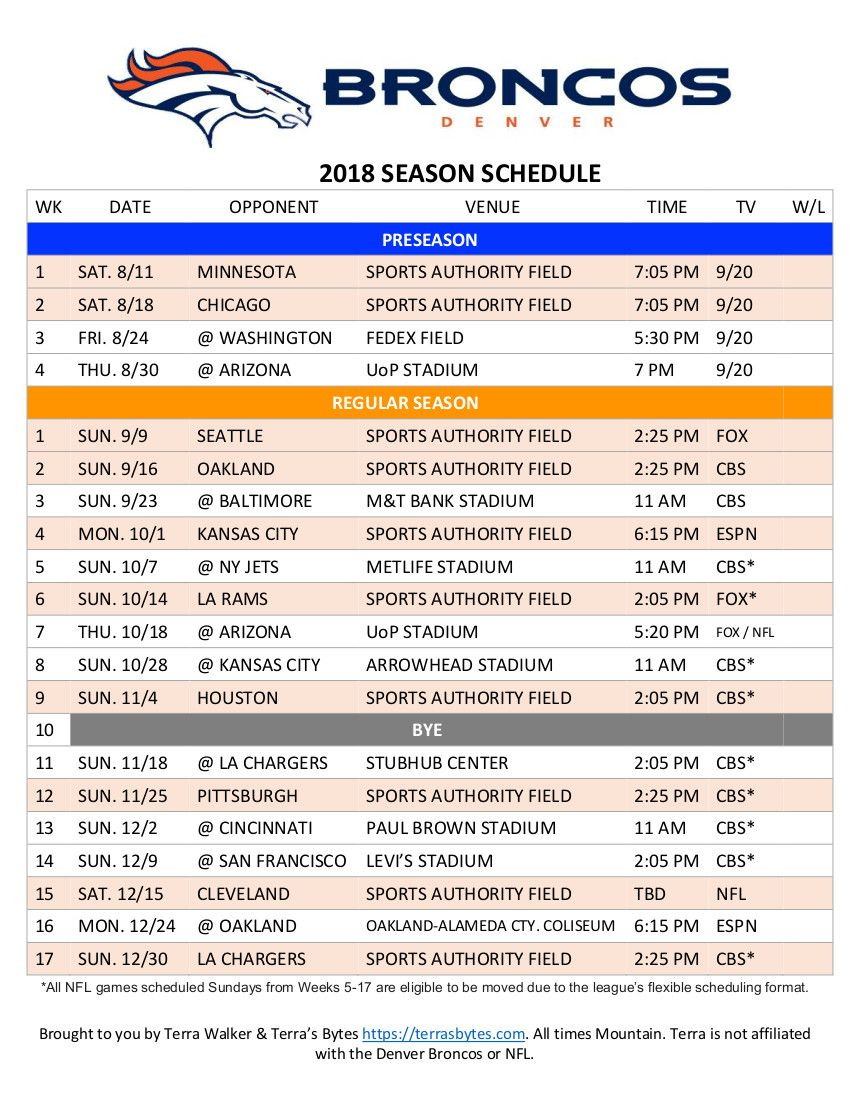 graphic regarding Denver Broncos Schedule Printable titled Pin upon Denver Broncos