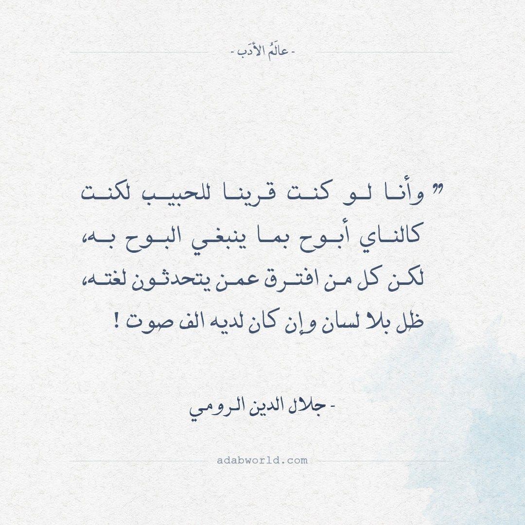 أقوال جلال الدين الرومي لو كنت قرينا للحبيب عالم الأدب Fabulous Quotes Cool Words Sufi Quotes