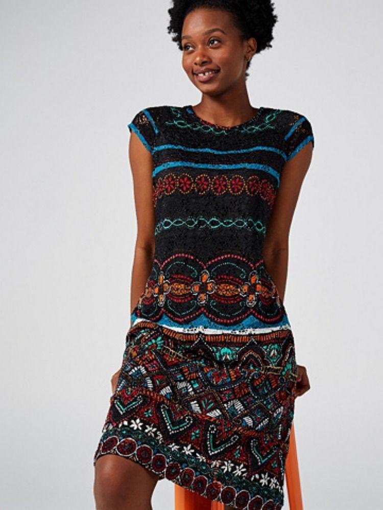 Ronni nicole cap sleeve printed lace dress qvc uk