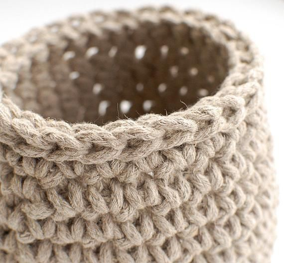 Crochet bowl linen rope basket -Natural linen flax gray storage bowl