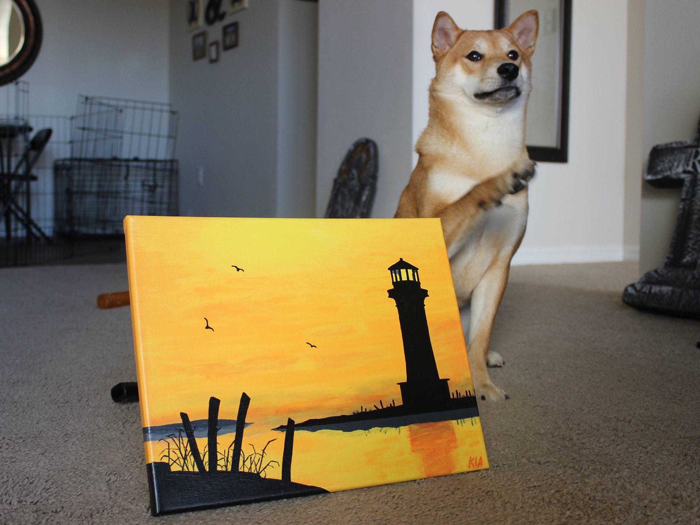 Sunset Lighthouse Painting, Lighthouse Decor, Beach Painting ...