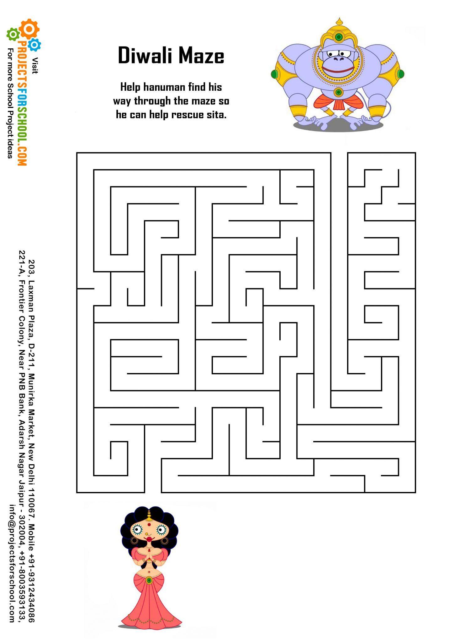 Diwali Maze Free download (With images) Maze worksheet