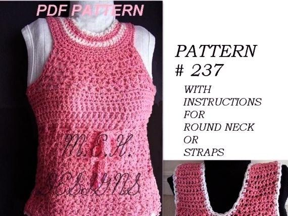 Crochet Pattern Number 237 Tank Top Size 1 To Adult Xx Large