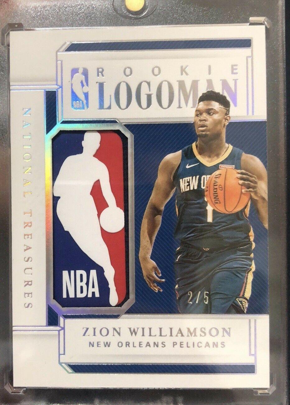 Zion Williamson 2019 20 National Treasures Rc Logoman Non Auto 5 Zion Not1of1 Nba Logoman Nationaltreasu In 2020 National Treasure Sports Cards Basketball Cards