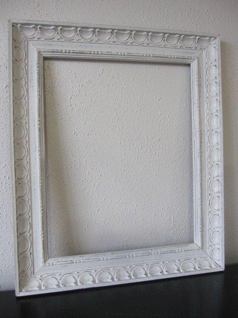 Vintage White Eclectic Frame Shabby Chic White Solid Wood Eclectic Frames White Shabby Chic Shabby Chic Frames