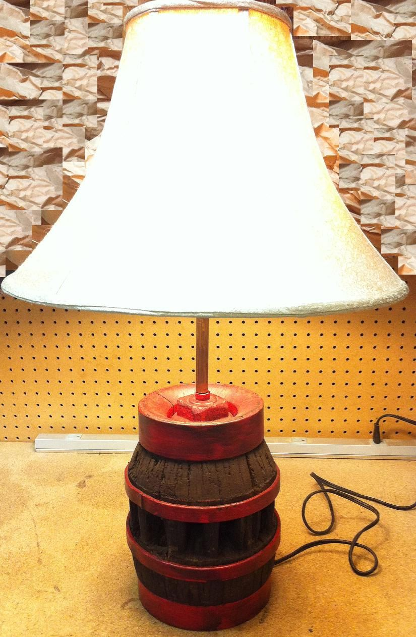 Repurposed Antique Wagon Wheel Hub Lamp with Copper Accents and Sha ...