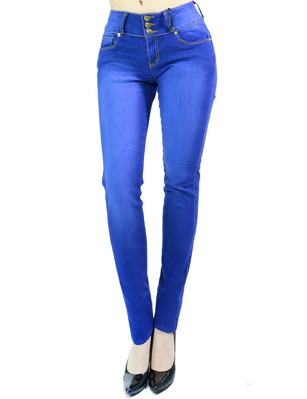 Womens Fashion Faded Ocean Blue Stretch Skinny Jeans 3 Button Closure (SIZE : 3, BLUE)