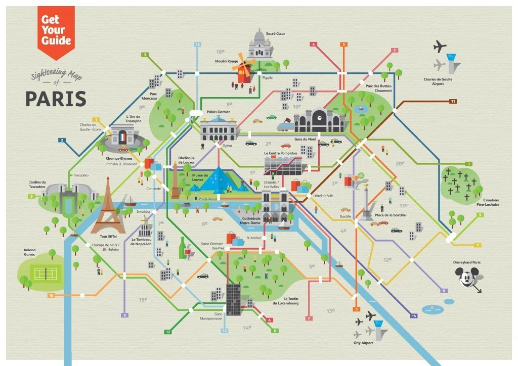 Paris Metro Map Tourist Attractions Download Map Of Attractions In - Map of paris arrondissements with metro