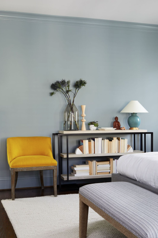 Light Blue Walls With Bright Yellow Statement Chair Vaegfarver