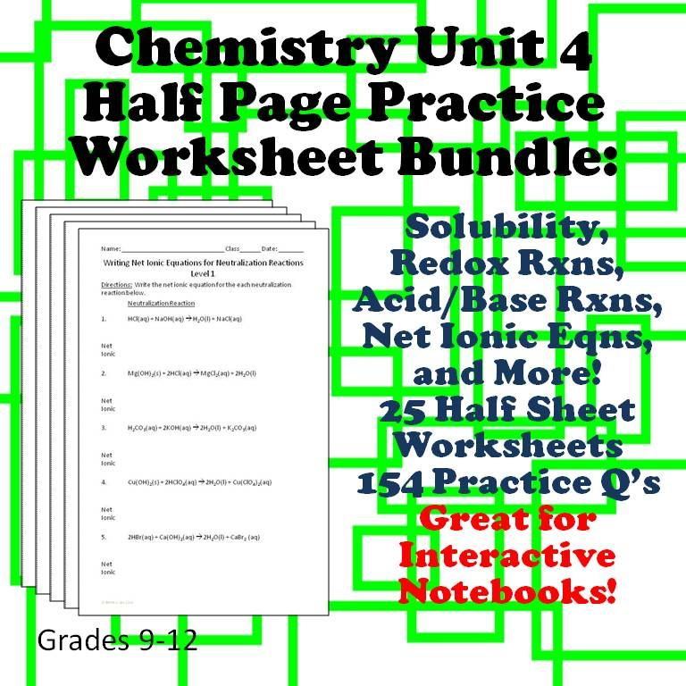 Chemistry Worksheets 4 for Interactive Notebooks