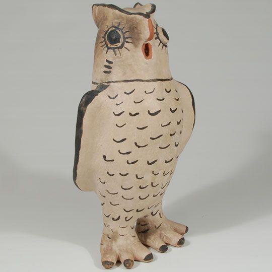 Cochiti Pueblo Pottery Owl Figurine by Josephine Arquero - C3837F #adobegallery #SouthwestIndianPotttery #CochitiPueblo #CochitiPuebloPottery