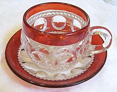 C 1880'S ADAMS & CO RUBY THUMBPRINT CUP & SAUCER