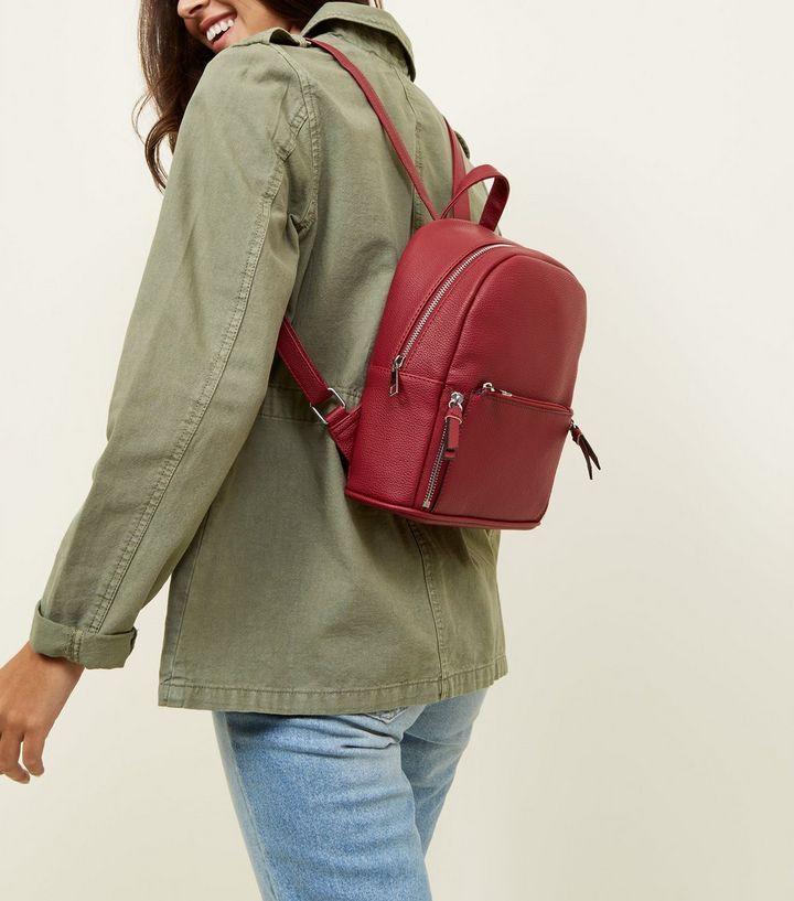9a3441aece Dark Red Zip Top Curved Mini Backpack £19.99