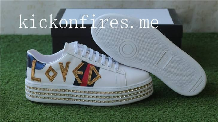 11a254c95 Gucci Ace Loved Leather Trainer With Crystal Platform | Gucci ...