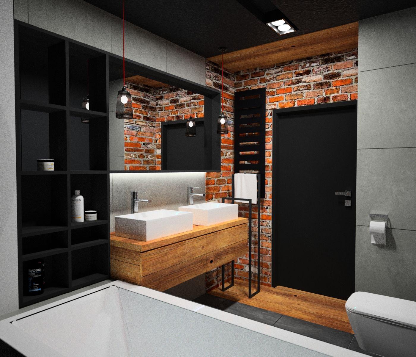 #modernbathroom #małałazienka cegła w łazience, drewno, beton, duże lustro w czarnej ramie ...