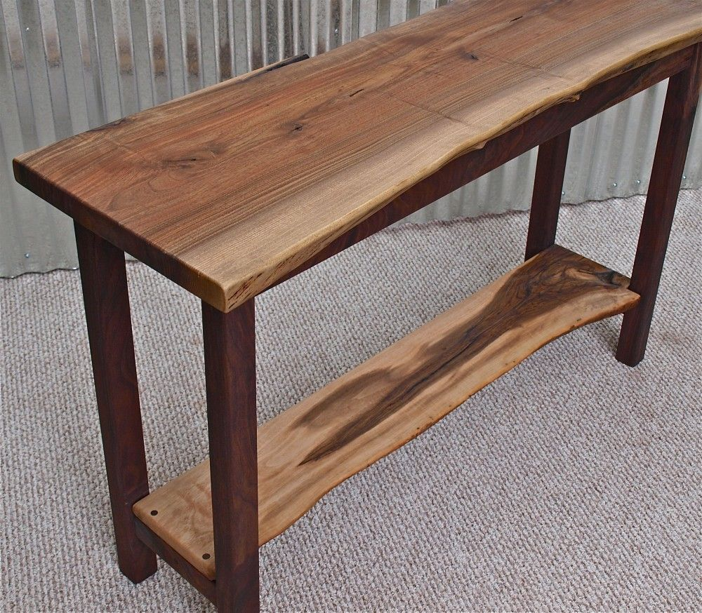Vintage Industrial Live Edge Walnut Slab Coffee Table: Live Edge English Walnut Sofa Table With Black Walnut Base