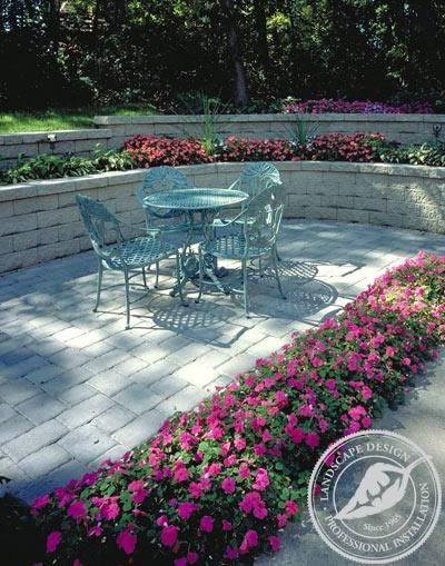 paver patio with raised flower bed google search yard ideas